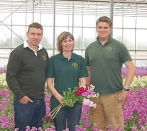 The Collison family in their crop of column stocks.